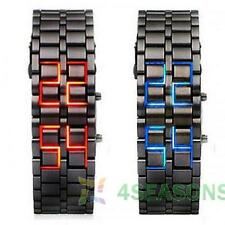 Fashion Lava Iron Samurai LED Digital Faceless Metal Bracelet Wrist Watch Gifts