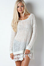 ENTRO Sheer Tunic with Delicate Lace Hem-WHITE