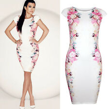 Fashion Womens Celeb Short Sleeve Floral Cocktail Evening Party Bodycon Dress
