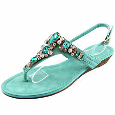 New women's shoes sandals open toe wedge turquoise blue rhinestones causal party