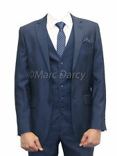MARC DARCY  MENS 3PC SUIT BLUE LONG FITTING IDEAL FOR WEDDINGS AND OFFICE WEAR