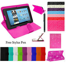 "Plain/Bling 7"",10"",10.1"" UNIVERSAL STAND LEATHER COVER FOR ANDROID TABLET PC TAB"