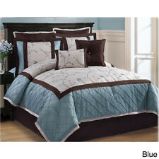 BEAUTIFUL BLUE & BROWN EMBROIDERED DETAIL 8-PC COMFORTER SET KING QUEEN