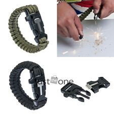 Survival Bracelet Paracord Flint Fire Starter Whistle for Outdoor Hiking Camping