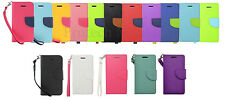 Alcatel Colored ID Credit Card Wallet PU Leather Kickstand Cell Phone Case Cover