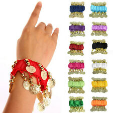 New 1 Pairs Belly Dancing Wrist Ankle Cuff Arm Bracelet Gold Coins US Seller