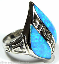 Unique Blue Fire Opal Inlay Solid 925 Sterling Silver Ring size 6, 8, 9