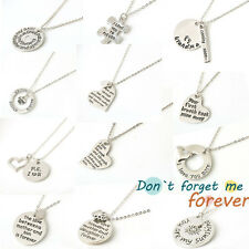 New Simple Sweet Words I Love Silver Tone Pendant Necklace Chain Best Lover Gift