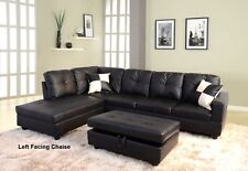 Modern Black Sectional Couch and Storage Ottoman Set