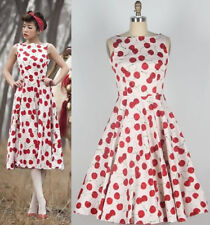 Vintage 1950's 60's Rockabilly Cherry Printed Fromal Party Swing Evening Dress