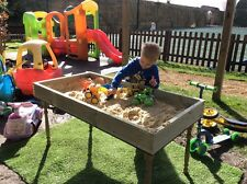 Kids wooden Sandpit & Table. Tanalised Wood. Garden toy. Outdoor play.