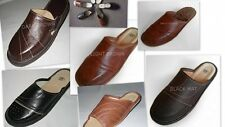 Mens Leather Slippers Size UK 7,8,9,10,11,12