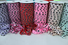 2m of Soft Fold Over Elastic 15mm Minnie Mouse Patterned Headband Clothing FOE