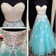 Gorgeous Pearls Long Prom Dress Beaded Ball Pageant Party Formal Evening Gowns