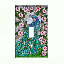 Peacock & Flowers Light Switch Plate Wall Cover Peacock Decor