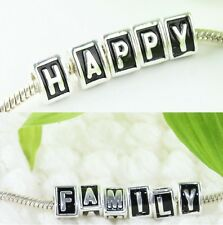 Silver Alphabet Letter A-Z And Heart Triangle Pyramid Big Hole Beads Fit Charms