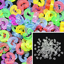 NEW 100pcs C-Clips Connector Loom Rubber Bands Bracelet Making DIY Tool For Kids