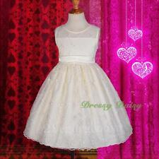 Embroidered Empire Formal Flower Girl Dress Wedding Party Ivory Size 3-7 FG249