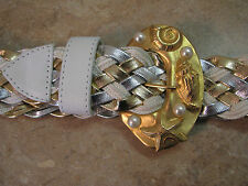 Vtg 80's? I.B.DIFFUSION GOLD/SILVER/WHITE/PEARL Braided Woven Belt NAUTICAL M/L