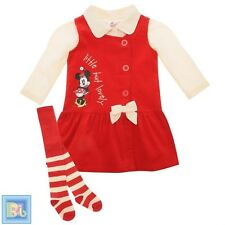 Disney Minnie Mouse Baby Girls 3 Piece Set Top Tights Dress Red 6-9-12 Months