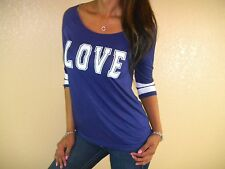 SEXY NAVY WHITE LOVE FOOTBALL SPORTY LOOSE FLOATY FIGURE FLATTERING TOP BL107