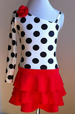 Spanish style spot dot modern solo tap solo dance costume 4-14yrs