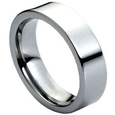 Tungsten Carbide Mens Women Wedding Ring 6mm Polished Shiny Flat Pipe Cut Style