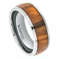 Titanium Domed Band Ring 8MM with High Polished Santos Rosewood Inlay Size 6-15