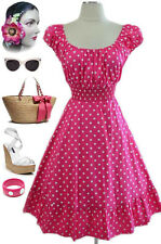 50s Style Pink & White POLKA Dots PINUP Peasant Top On/Off The Shoulder Dress