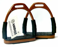 FLEXI SAFETY STIRRUPS HORSE RIDING BENDY IRONS S/STEEL BROWN COLOR FROM AMIDALE