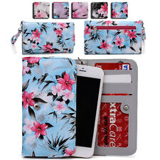 Womens Flower Pattern Wallet Case Cover for Smart Cell Phones by KroO ESMLF-9