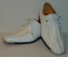 Expressions 4925 Mens White Satin Modern Formal Tuxedo Tux Dress Shoes