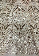 GOREGOUS FRENCH SEQUINS EMBROIDERED BRIDAL DRESS MESH LACE FABRIC 5YD LOT