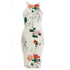 AX Paris Womens Japanese Print Sleeveless Bodycon Midi Dress Size UK 8-14