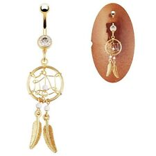 Crystal Bar Belly Ring Gold Body Piercing Button Navel Campanula Fashion
