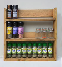 SPICE RACK 3 TIERS RECLAIMED WOOD RUSTIC KITCHEN STORAGE WALL MOUNT DEEP SHELVES