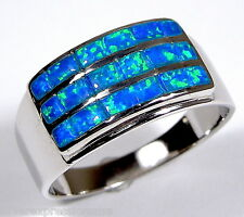 Blue Fire Opal Inlay Genuine 925 Sterling Silver Men's Band Ring size 8 - 13