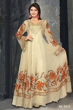 Awesome Dubai Kaftan Jalabiya New Designer Women Viscose Georgette Beige HA-5413