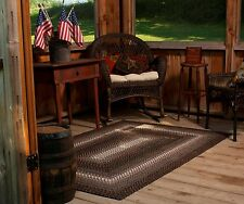 Ultra Durable Washable Braided Area Rug Rectangle Indoor Outdoor Brown Black
