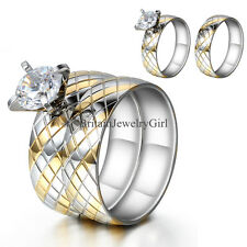 Rhombus Plaid Pattern Stainless Steel Wedding Band Ring Set 2PCS Womens Size 6-9