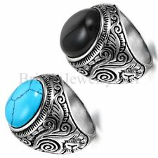 Cool Men's Vintage Artificial Turquoise Stainless Steel Wedding Band Ring
