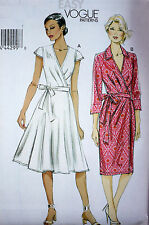 LOVELY MISSES' EASY WRAP FRONT DRESS SEWING PATTERN  VOGUE V8784 PLUS SIZE 6-22