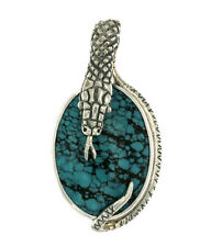 Mercurious Designs Sterling Silver Coiled Snake Pendant in 4 Stone Varieties