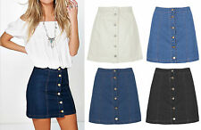 New Ladies Women Casual Classic Denim Jean A Line Mini Skirt Button Front 6-14