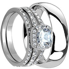4 PCS HIS AND HERS TITANIUM 925 STERLING SILVER WEDDING BRIDAL MATCHING RING SET