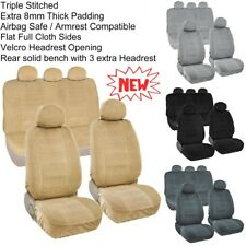 Automotive Grade 10mm Thick Full Seat Cover Set 2 Front Bucket 1 Rear Bench A