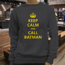 Chive Funny Keep Calm and call Batman Womens Charcoal Sweatshirt