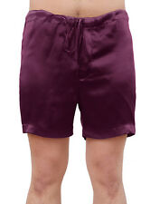 MENS PURPLE CLASSIC SILK SLEEP SHORTS BOXING SHORTS SLEEPWEAR LOUNGE WEAR
