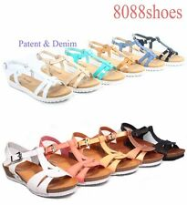 Women's Cute Summer Buckle T-Strap Low Wedge Flat Sandal Shoes Size 5 - 10 NEW