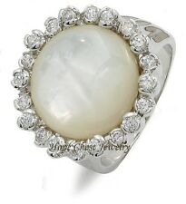 WOMEN'S SILVER ROUND SYNTHETIC MOTHER OF PEARL CZ FASHION COCKTAIL RING SZ 6 - 8
